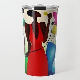 African American Masterpiece 'Bourbon Street New Orleans Jazz' by Fred Blassingham Travel Mug