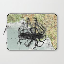 Octopus Attacks Ship on map background Laptop Sleeve