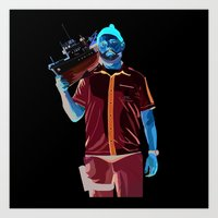 steve zissou Art Prints featuring Steve Zissou by Natasha Martono