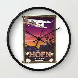 Höfn Iceland travel poster Wall Clock