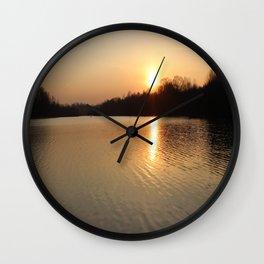Fall evening lake side  Wall Clock