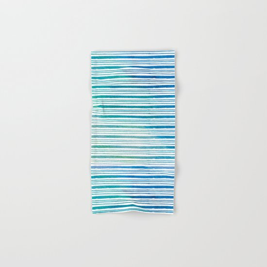 fine aqua handpainted stripes on clear white Hand & Bath Towel