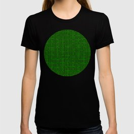 Binary numbers pattern in green T-shirt