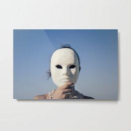 Mask enigmatic girl blue sky Metal Print