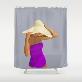 At the Beach: Purple suit Shower Curtain
