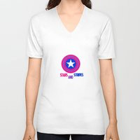 steve rogers V-neck T-shirts featuring Stars and Stripes- Bisexual Steve Rogers by merlinemrys