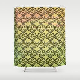 Doodle flowers on pastel background Shower Curtain