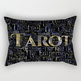 Tarot Major Arcana Word Art  Gold and Gemstone Rectangular Pillow