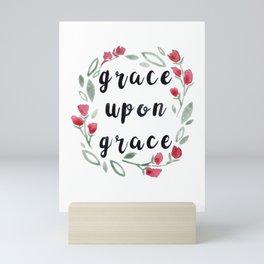 Grace Upon Grace, Floral Watercolor Painting Mini Art Print