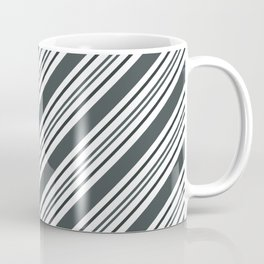PPG Night Watch Pewter Green and Dark Green Thick and Thin Angled Lines - Stripes Coffee Mug