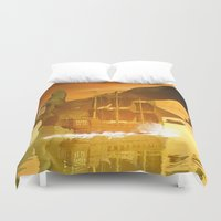 pirate ship Duvet Covers featuring Pirate ship  by nicky2342