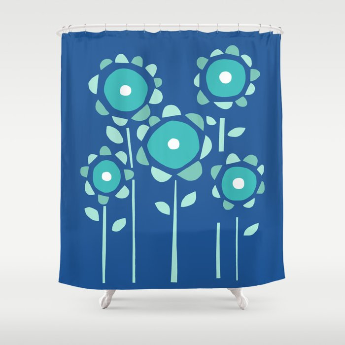 Moody Blue Garden of Flowers Shower Curtain