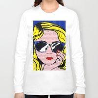 lichtenstein Long Sleeve T-shirts featuring Pop Art Glamour Girl by Alli Vanes