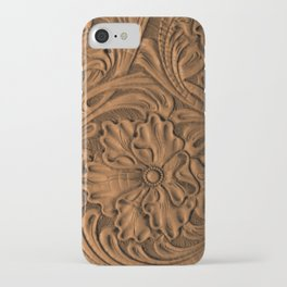 Golden Tanned Tooled Leather iPhone Case