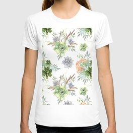 Succulents Mint Green Lavender Lilac Coral Violet Pattern T-shirt
