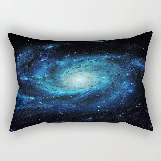 Spiral gAlaxy. Teal Ocean Blue Rectangular Pillow