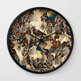Ethnic pattern with feathers. Wall Clock