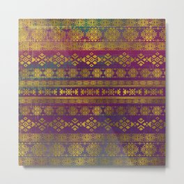 Mexican /Tribal Style pattern - Gold on Vintage purple Metal Print