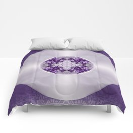Vinyl Record Illusion in Purple Comforters