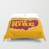 lebron Duvet Covers featuring Home of the King (Yellow) by Denise Zavagno
