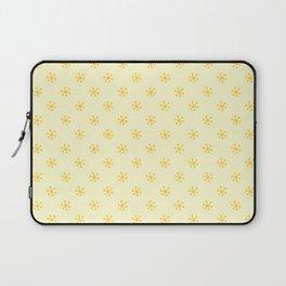Amber Orange on Cream Yellow Snowflakes Laptop Sleeve