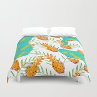 pineapples Duvet Covers featuring Pineapples by terezamc.
