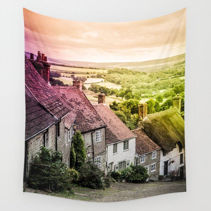 Down a quiet road in Gold Hill, Shaftesbury Wall Tapestry