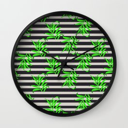 Beautiful seamless vector floral pattern background with tropical palm leaves Wall Clock