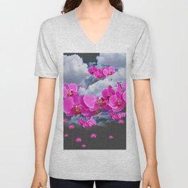 PINK ORCHID FLOWERS CLOUDS & RAIN Unisex V-Neck