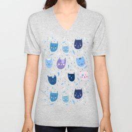 Little blue cats Unisex V-Neck