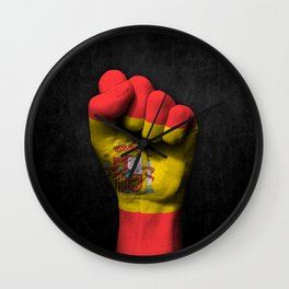 Spanish Flag on a Raised Clenched Fist Wall Clock