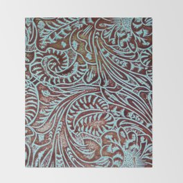 Light Blue & Brown Tooled Leather Throw Blanket