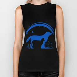 Dog and Cat and nature Silhouette Biker Tank