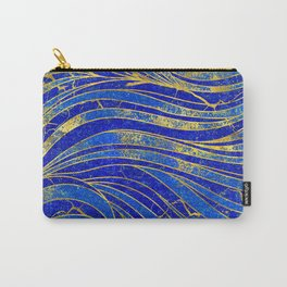 Lapis Lazuli and gold vaves pattern Carry-All Pouch