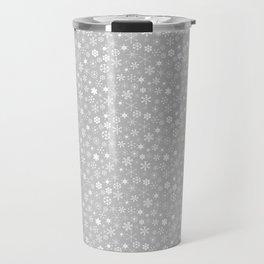Silver & White Christmas Snowflakes Travel Mug