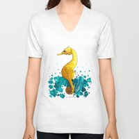 sea horse V-neck T-shirts featuring Sea Horse by Lore Illustration