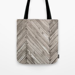 Herringbone Weathered Wood Texture Tote Bag