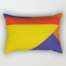 Random colored parallelepipeds flying in a cool blue space Rectangular Pillow