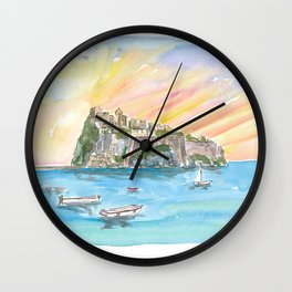 Amore in Ischia Italy with Castello Aragonese Wall Clock