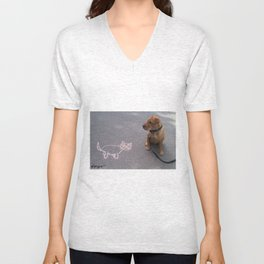 """Cat Skeptical"" from the photo series""My dog, PLaY-DoH"" Unisex V-Neck"