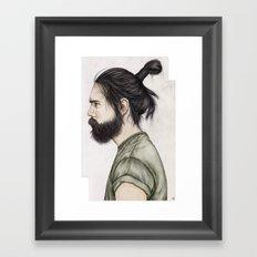 Beard & Top Knot Framed Art Print