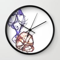 ying yang Wall Clocks featuring Ying & Yang by Nerve
