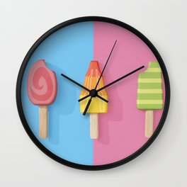 Ice Lollies on a Split Blue and Pink Background Wall Clock