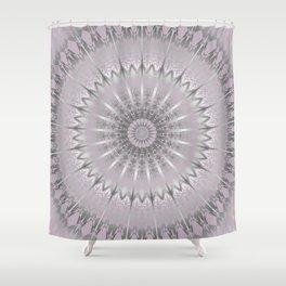 Mauve Silver Mandala Shower Curtain