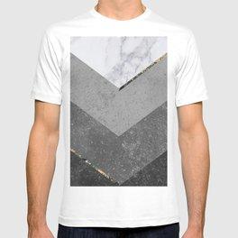 Marble Gray Copper Black Gold Chevron T-shirt