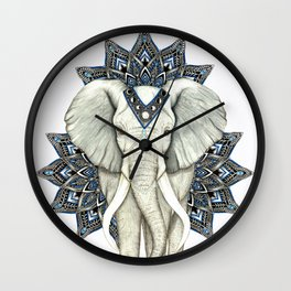 Zen Elephant Mandala Wall Clock