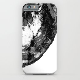 Black sparkling agate marble half cut iPhone Case