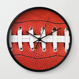 Close Up Football And Laces Wall Clock
