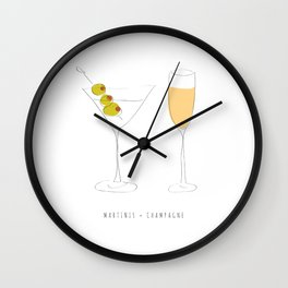 Martinis + Champagne Wall Clock