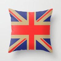 union jack Throw Pillows featuring Union Jack by MeMRB